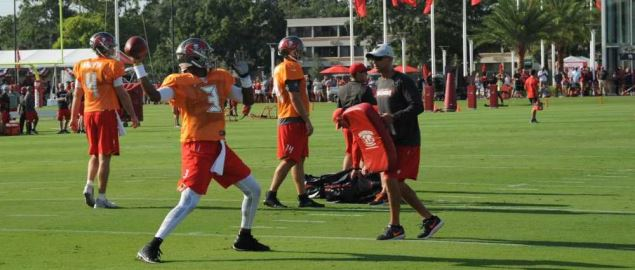 Tampa Bay Buccaneers Quarterback Jameis Winston throws during training camp.