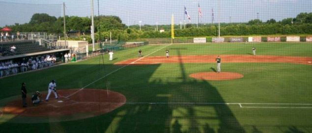 The field of Lupton Baseball Stadium on the campus of Texas Christian University.