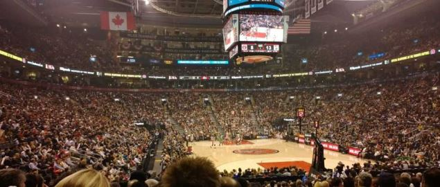 The inside of the Toronto Raptors home arena, Air Canada Centre.
