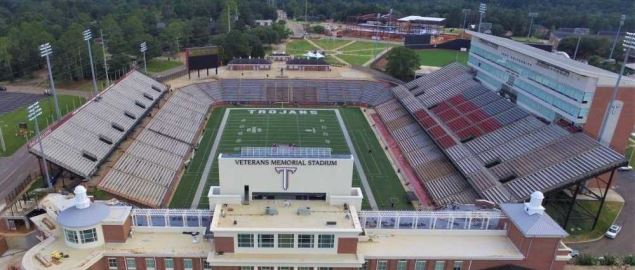 An aerial view of Veterans Memorial Stadium (Troy University) using a drone.