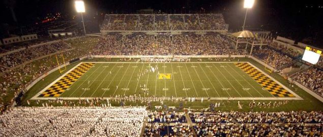Navy plays Stanford at Jack Stephens Field at Navy-Marine Corps Stadium.