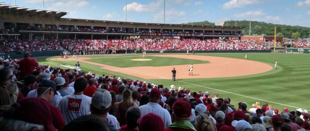 Arkansas vs Alabama 2015 Super Regional game 3 in Fayetteville.