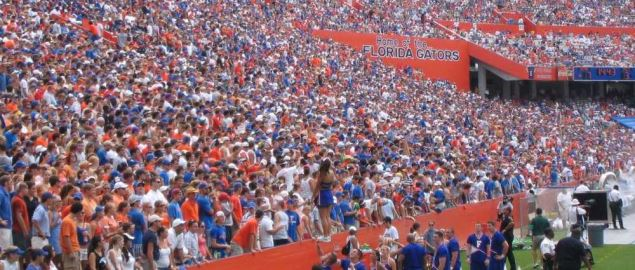 Packed house at Ben Hill Griffin Stadium, Florida vs Eastern Michigan.