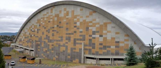 Western side of the Kibbie Dome, the main arena of the University of Idaho football team.