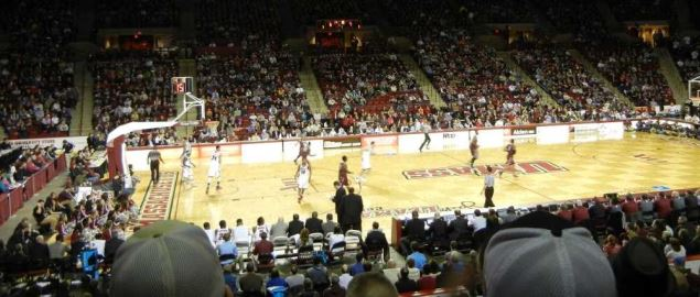 Mullins Center on campus of UMass during 2014 regular season baskeball game.