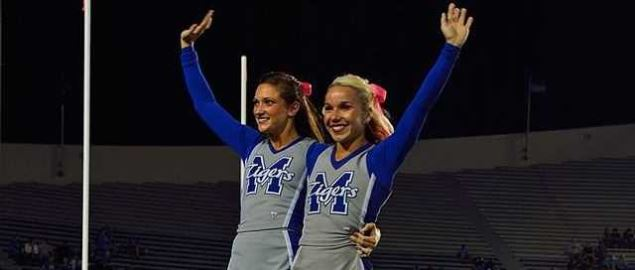University of Memphis Cheerleaders performing.