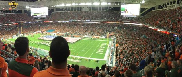 A panorama of Hard Rock Stadium, where the Miami Hurricanes play.