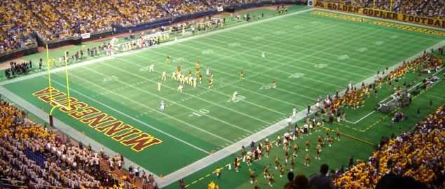 The Michigan Wolverines visit the Minnesota Golden Gophers at the Metrodome.