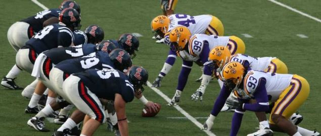 The Ole Miss Rebels line up against LSU.