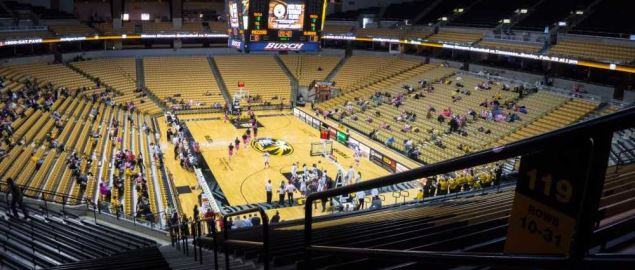 Mizzou Arena, home of the Missouri Tigers men's and women's basketball teams.