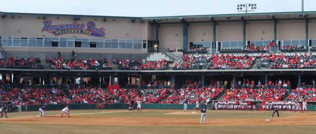Nebraska Cornhusker baseball team playing Fresno State at Hawks Field at Haymarket Park.