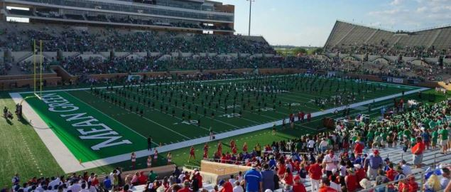 The Green Brigade Marching Band performing before the SMU Mustangs/North Texas game.