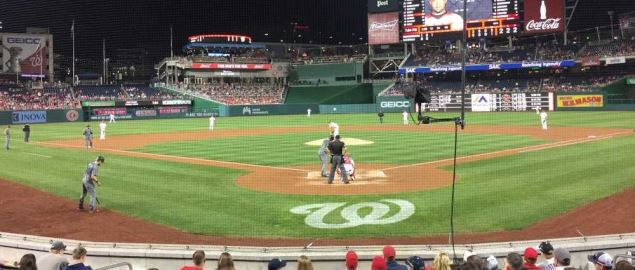 Behind home plate during a baseball game at Nationals Park in Washington, D.C.