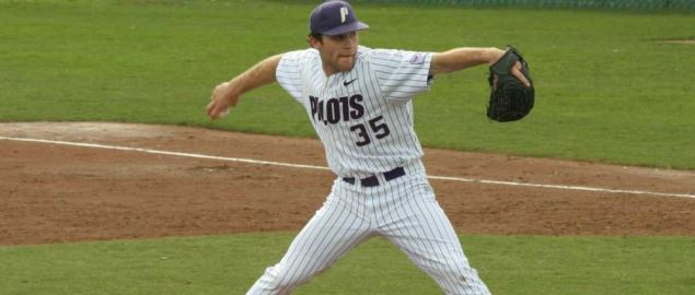 A Portland University baseball pitcher throws sidearm.