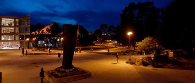 Late night shot of the SFSU quad campus area.
