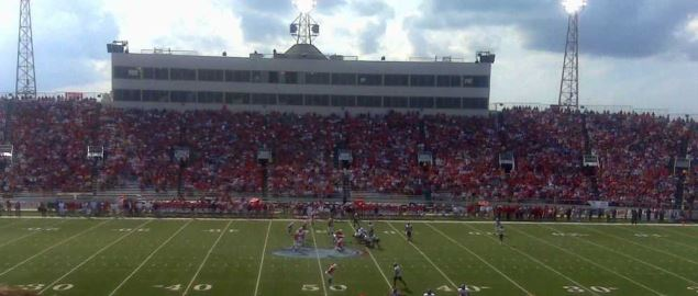South Alabama Jaguars playing a regular season game at their home stadium, Ladd Peebles.