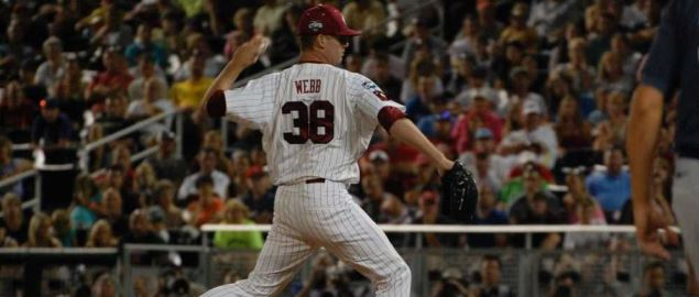 Tyler Webb delivers a pitch for the SC Gamecocks at the 2012 College World Series.