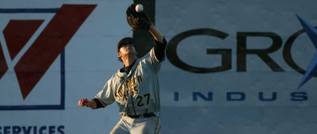 Southern Miss player catches a deep fly to left center in the Baton Rouge Regionals '08.