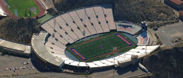 Aerial view of Sun Bowl Stadium on the campus of the University of Texas at El Paso (UTEP)