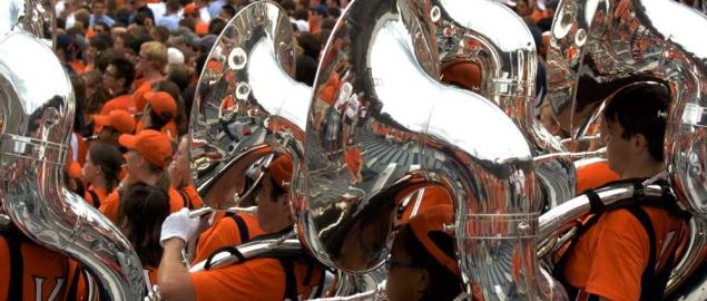 Sousaphone players of the University of Virginia Marching Band.