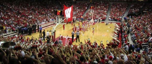 Wisconsin getting the home team fired up during a game at Kohl Center.