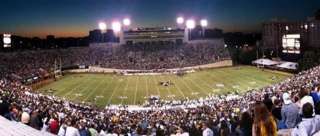 Vanderbilt Commodore's home stadium at night vs Easten Michigan.