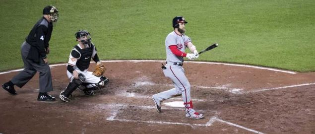 Bryce Harper of the Washington Nationals at bat in a game against the Baltimore Orioles.