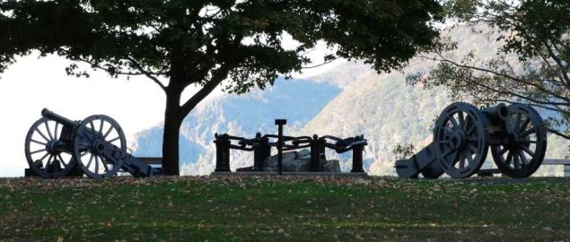 Trophy Point with Cannons at West Point Military Academy.
