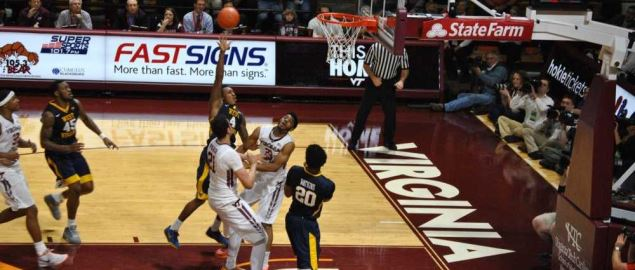 The West Virginia Mountaineers playing against Virginia Tech.