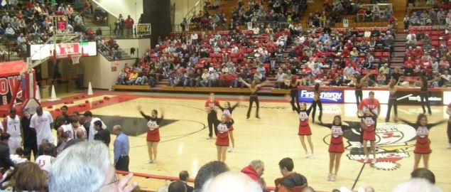 Cheerleaders perform during halftime of Youngstown State vs. Loyola game.